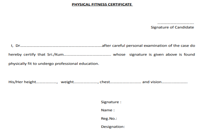 Medical Fitness Certificate